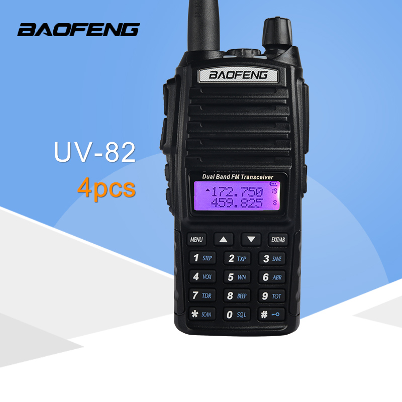 (4 PCS)BaoFeng UV 82 Dual Band 136 174/400 520 MHz FM Ham Two Way Radio, Transceiver, Walkie Talkie-in Walkie Talkie from Cellphones & Telecommunications