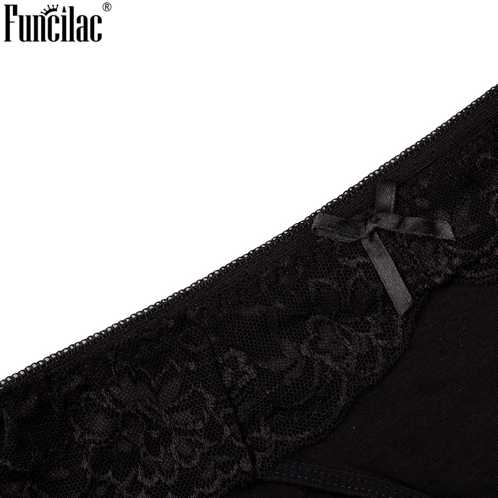 FUNCILAC Sexy Briefs Lace Women Panties Solid Underwear Embroidery Transparent Intimates Breathable Bow 6pcs lot M XL Blue Black in women 39 s panties from Underwear amp Sleepwears