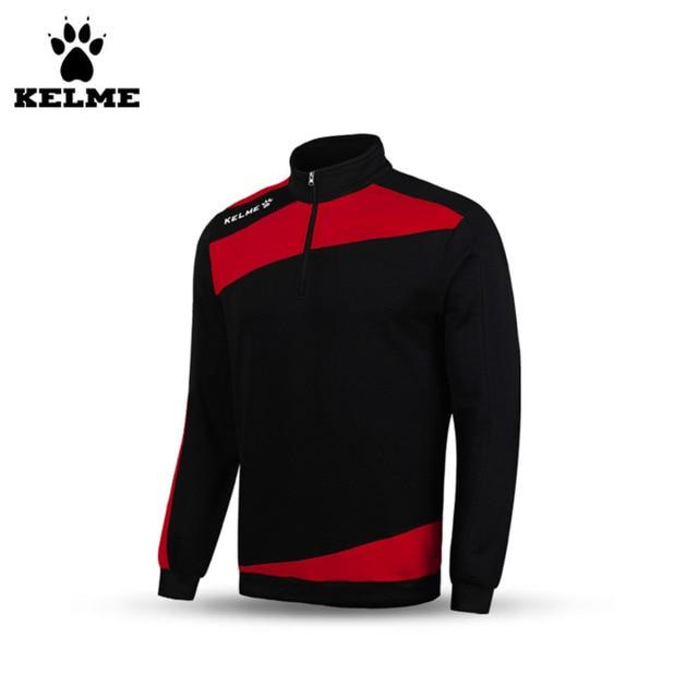 54913e9de Kelme K15Z312 Men s Windproof Breathable Half Zip Long Sleeve Stand Collar  Training Soccer Jersey Knit Sweater Black Red