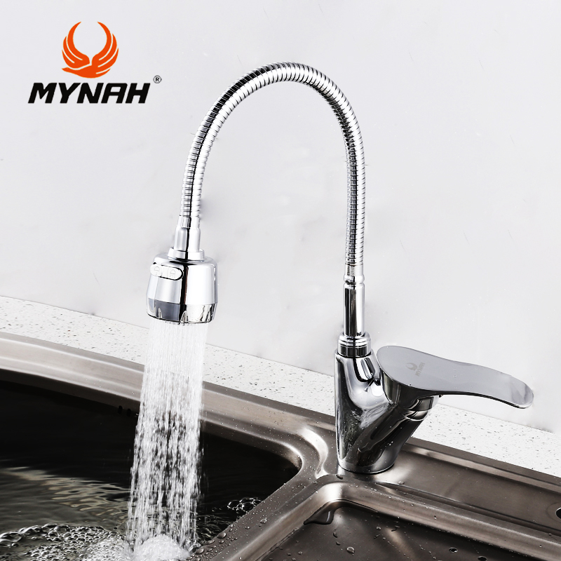 MYNAH Russia free shipping Kitchen faucet mixer water tap Single Holder Single Hole kitchen grifo rotation