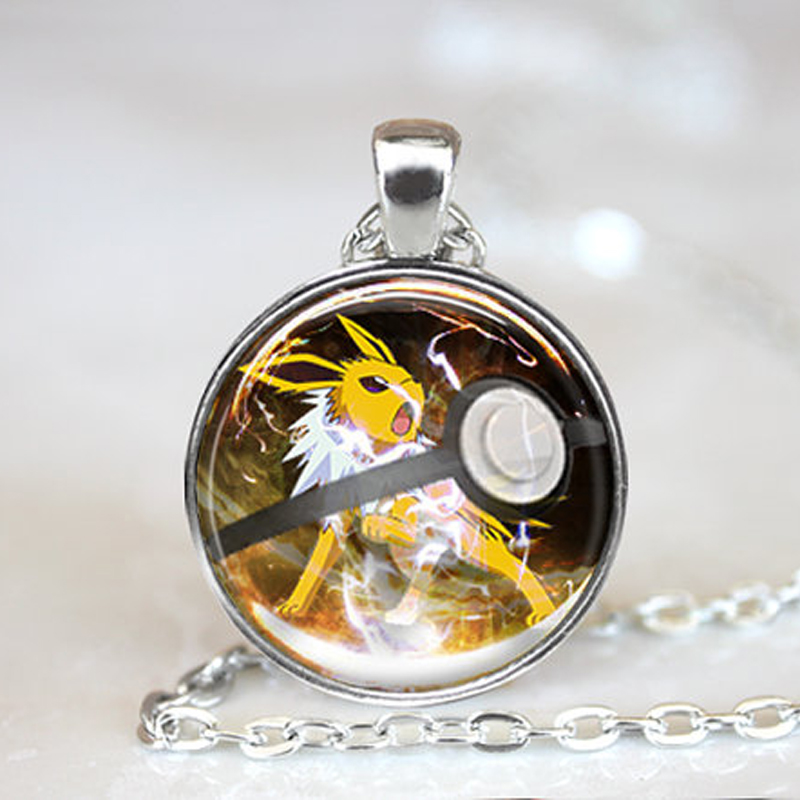 2016 New Fashion Pokemon Anime Jewely Jolteon Pokeball Collares Photo Glass Dome Long Necklace