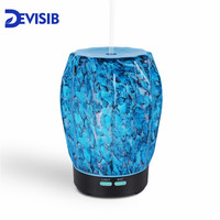 DEVISIB 2018 NEW Glass Aromatherapy Essential Oil Diffuser Cool Mist Humidifier 7 Color LED Lights and Waterless Auto Shut off