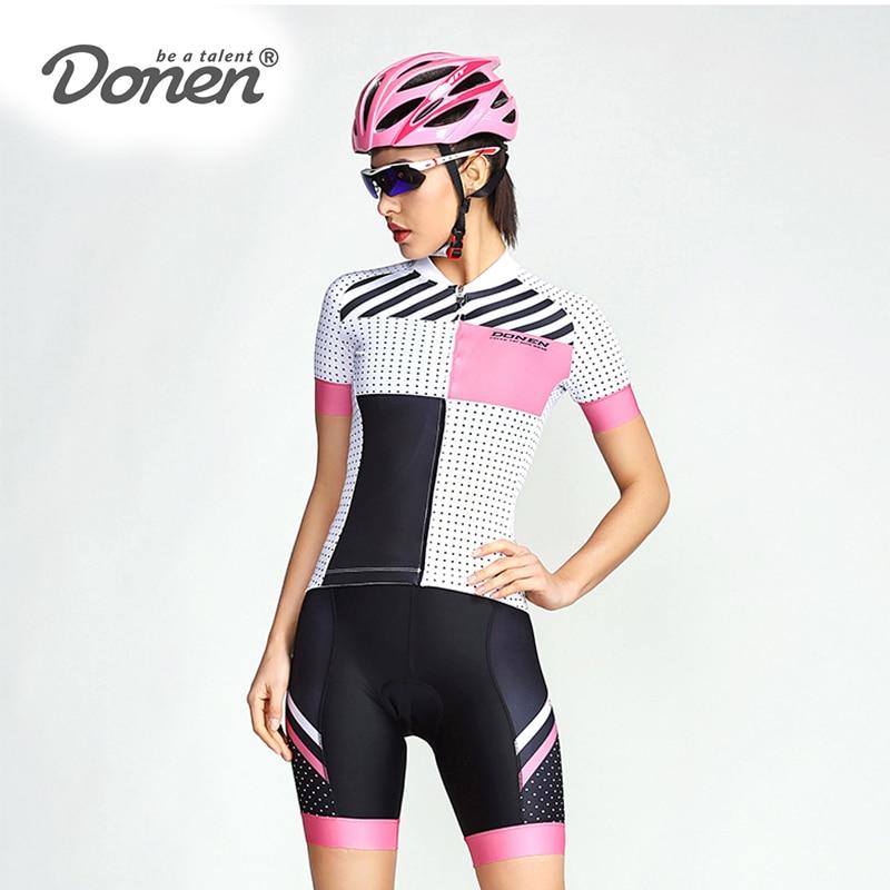 DONEN 2018 Summer Cycling Women Fresh Short Sleeve Jersey Bib Shorts Pad Bike Racing Team Road