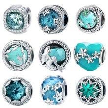 INBEAUT 925 Sterling Silver Ocean Blue Crystal Mermaid Charm Deep Sea Tree Heart Dasiy Star Glass Beads fit Pandora Bracelet