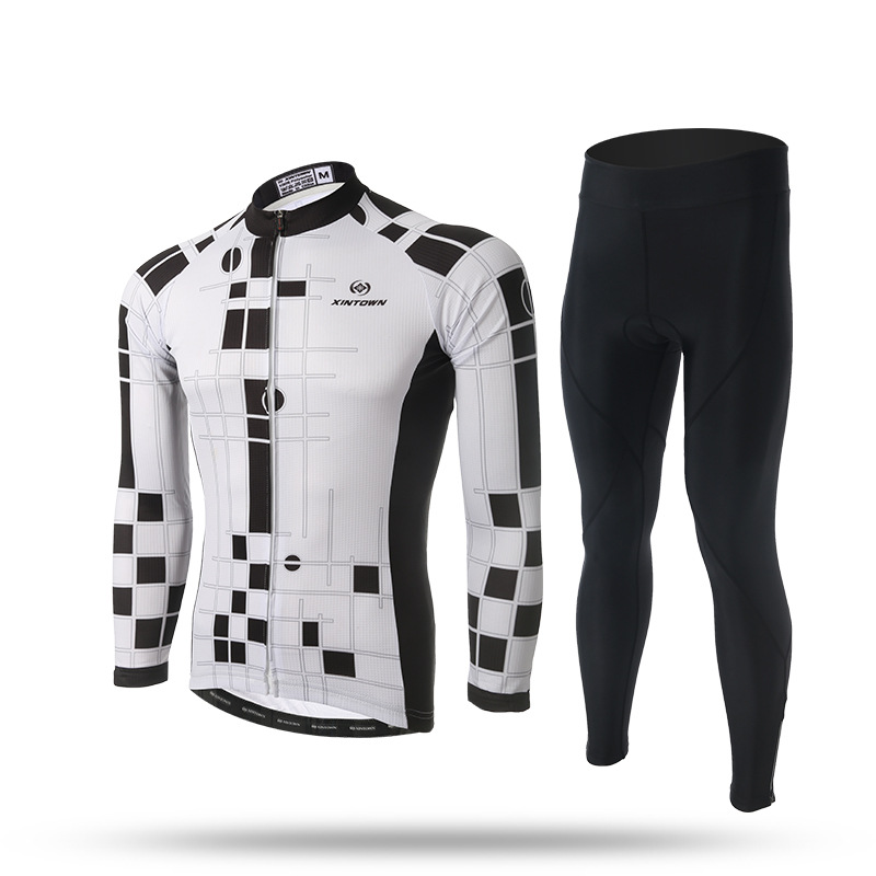 New Men Cycling Sets Long Sleeve Anti-sweat White Checkered Jersey Pants with GEL Pad Bike Bicycle Jersey Trousers Suit CiclismoNew Men Cycling Sets Long Sleeve Anti-sweat White Checkered Jersey Pants with GEL Pad Bike Bicycle Jersey Trousers Suit Ciclismo