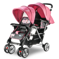 Steel Pipe Frame Twins Stroller, Super Suspension Pram Double Kids Stroller, Folding Portable Twins Stroller