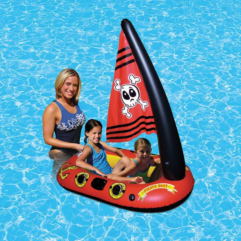 Kidlove Children Inflatable Pirate Ship Swimming Ring Seat Thickening Version Mattresses Inflatable Floating Pirate Ship Toy