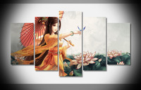 7358 fantasy girl butterfly umbrella lotus ancient costume Poster Framed Gallery wrap art print home wall decor Gift wall
