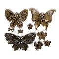 60 Pcs de liga de zinco Metal encantos Antique Bronze borboleta pingentes jóias Fit DIY 9 estilos