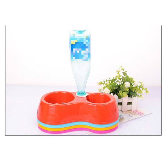 Creative Dual Port Dog Food Dish Bowl Automatic Water Dispenser Feeders Cat Drinking Pet Feeder Pet Drinking Fountain Plastic