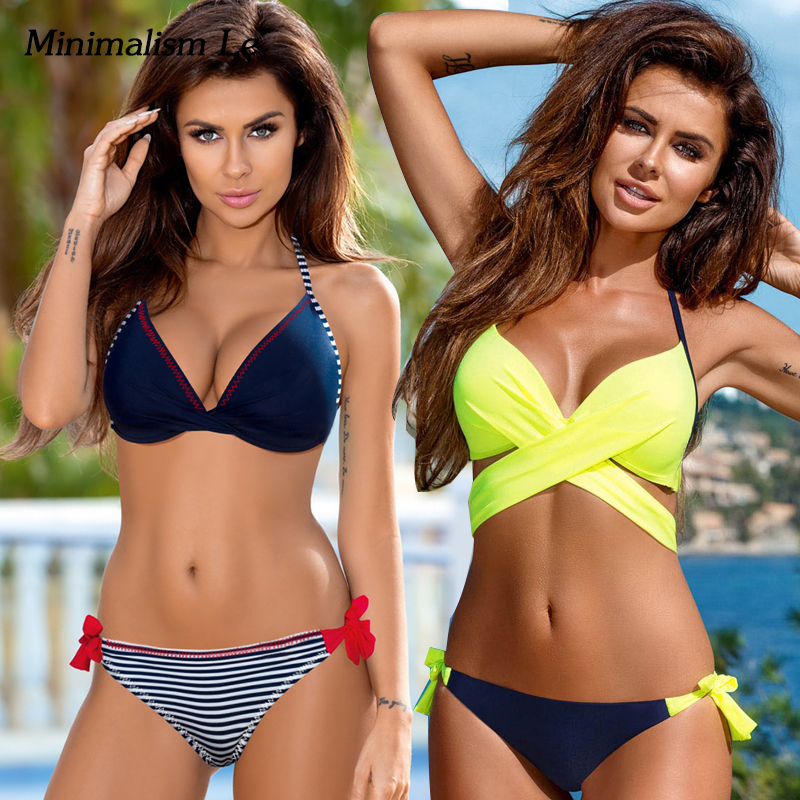 Minimalism Le Push Up Bikini 2018 Cross Patchwork Women Swimwear Swimsuit Halter Top Print Maillot Biquini Bathing Suits tropical print metal ring halter top