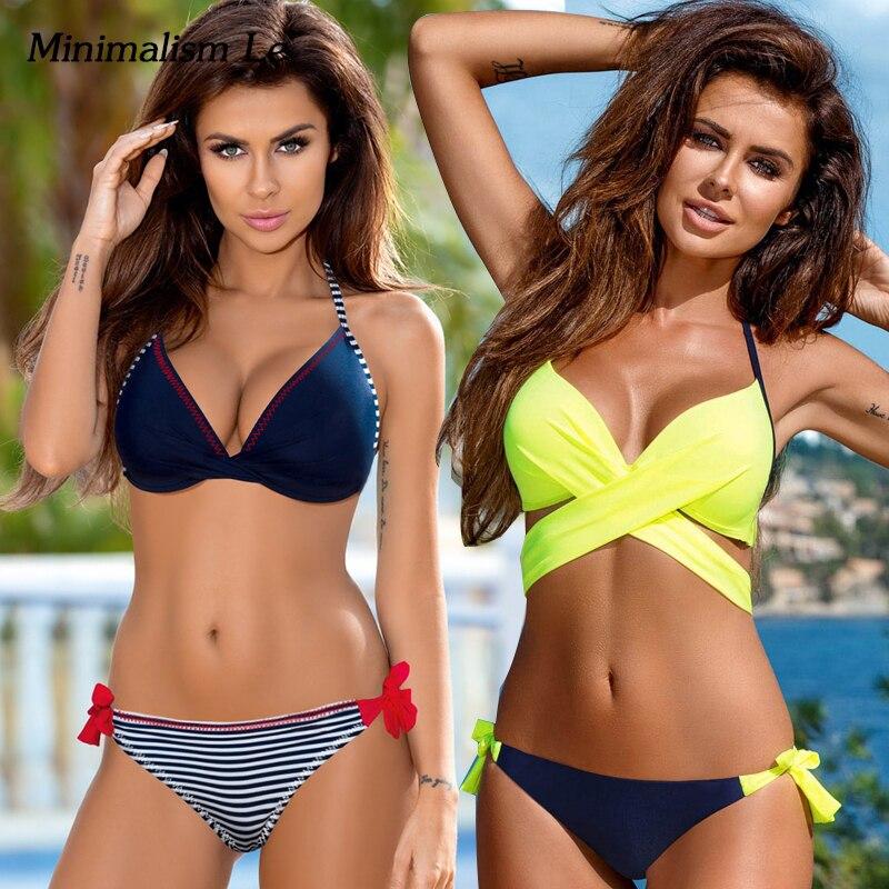 Minimalism Le Push Up Bikini 2018 Cross Patchwork Women Swimwear Swimsuit Halter Top Print Maillot Biquini Bathing Suits