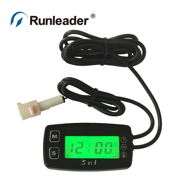 Celsius temperature thermometer with voltmeter clock temp sensor for dirtbike motocycle snowmobile PWC marine boat waterproof