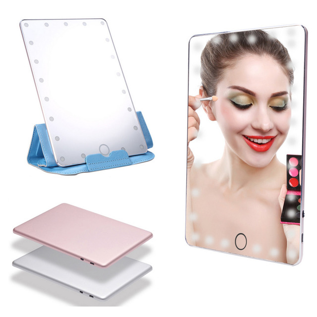 Oversea LED Lighted Makeup Mirror USB Charging Touch Screen Portable  Magnifying Vanity Tabletop Lamp Cosmetic Mirrors