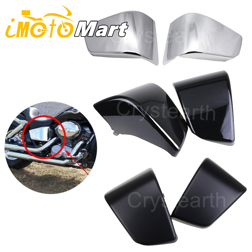 Motorcycle Black Chrome Battery Side Fairing Covers Cap For Honda 1997 2003 1998 1999 2000 Shadow