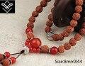 Natural Rudraksha Red Agate 8mmX44 Buddha Bead Bracelet