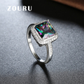 ZOURU Brand Handmade Large Colored Square CZ Stone Ring Weddings Birthday Party Gift Christmas Wholesale Super Deal Accessories