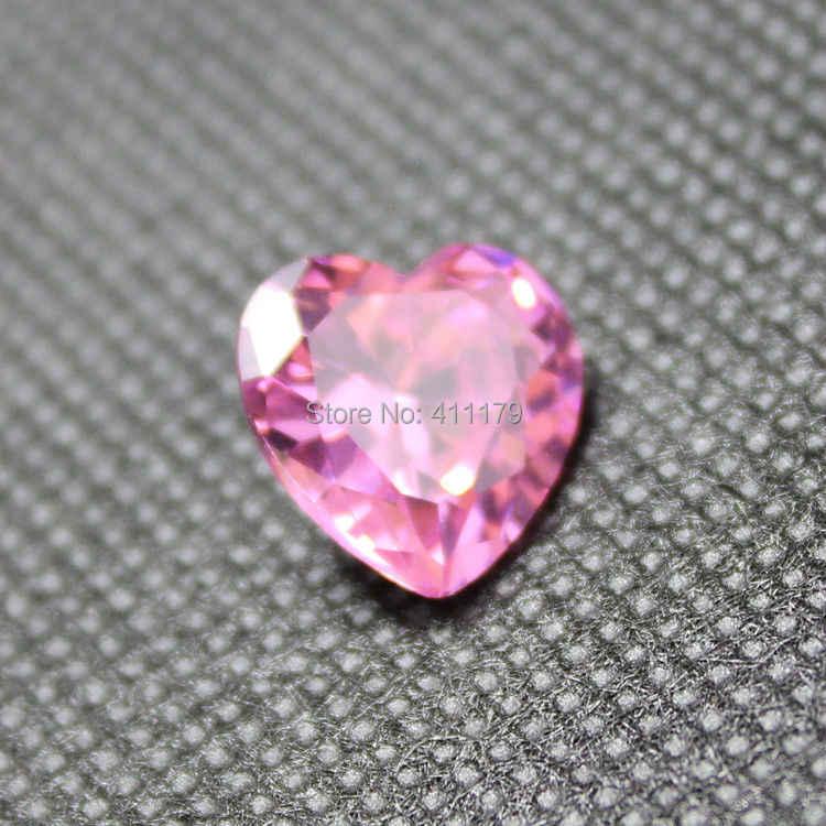ส่องแสงสีชมพูCZหินรูปหัวใจเหลี่ยมเพชรพลอยหินลูกปัดaaa cubic z irconiaเครื่องประดับทำDIYหลวมหิน