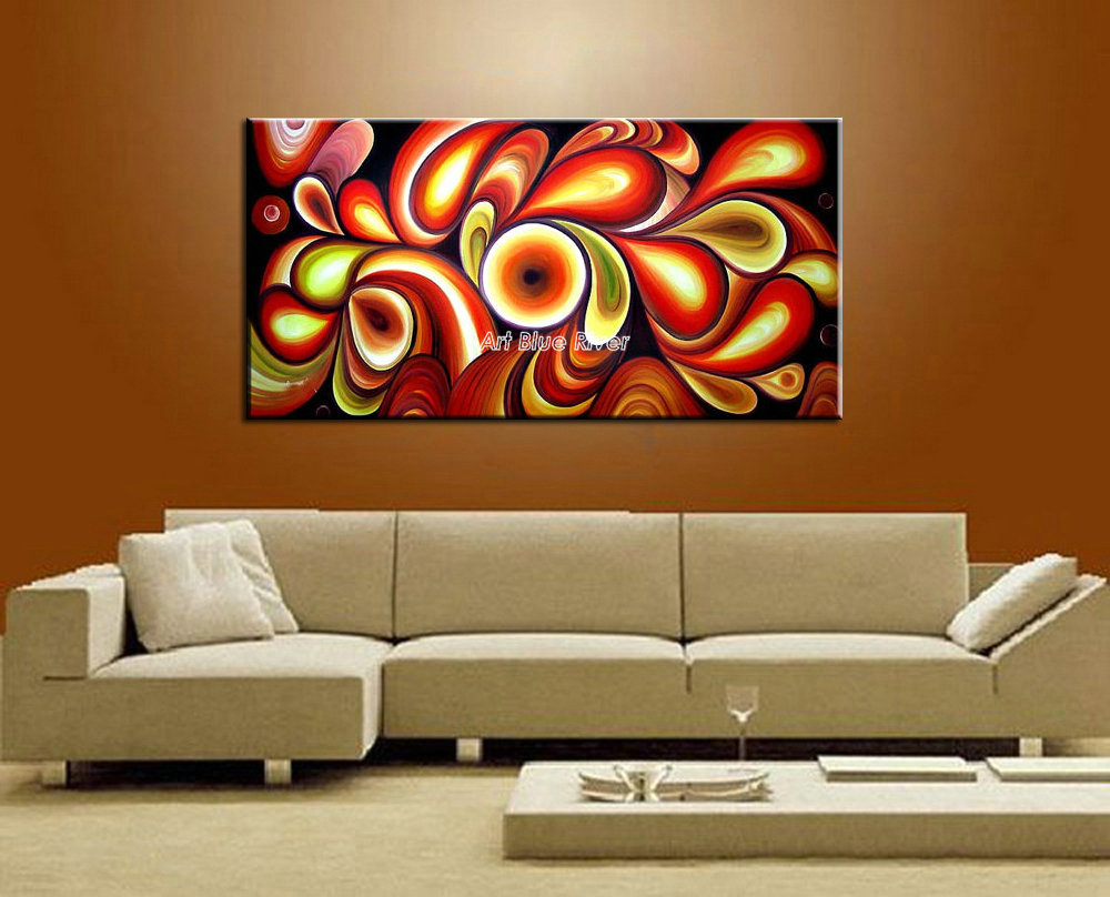 Buy large canvas wall art modern red for Large colorful wall art