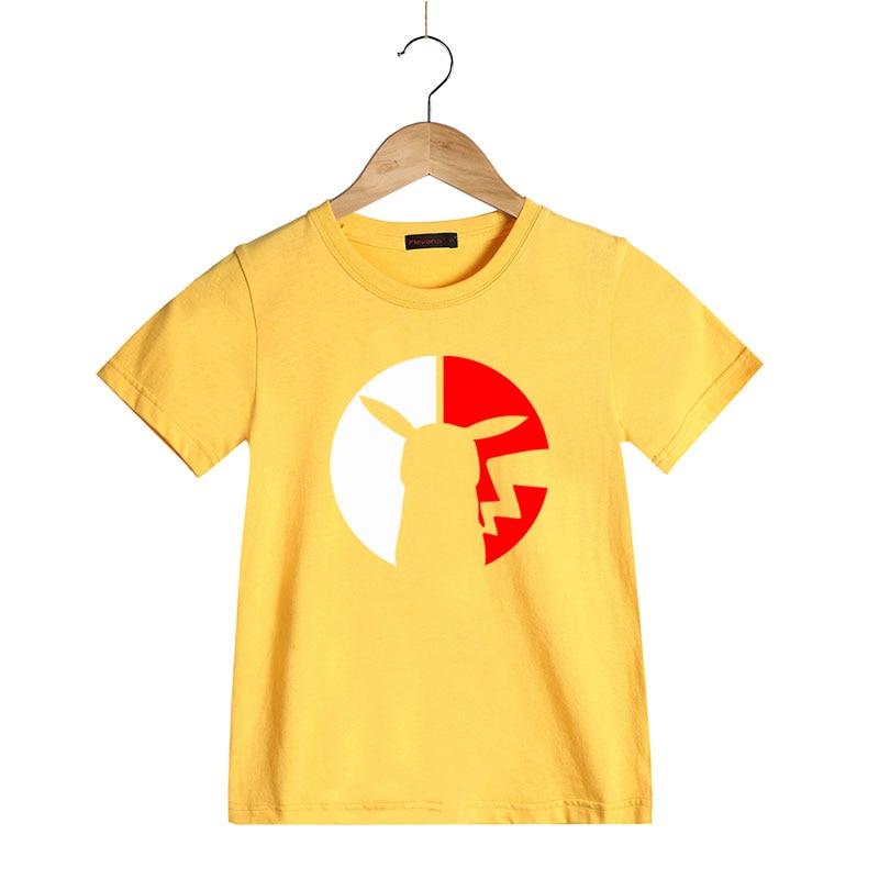Cute Funny Pikachu Cartoon Pattern T Shirts for Boy Girl Summer Children Short Sleeve T-shirt Kids Pure Cotton Clothes Tops Tees