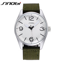 SINOBI Watches Men Luxury Brand Quartz Watch Nylon Strap Analog Display Wristwatch Mens Popular Sports Clocks