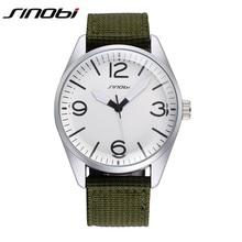 SINOBI Watches Men Luxury Brand Quartz Watch Nylon Strap Analog Display Wristwatch Mens Popular Sports Clocks Male Horloges K62