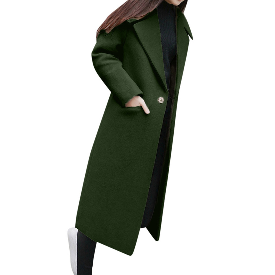 A Fashion khaki black Coffee green khaki Lapel Coat Sleeve Womens Trench green coffee Long Wool Outwear Winter 1106 Overcoat 733 Black rXZ5qw5d