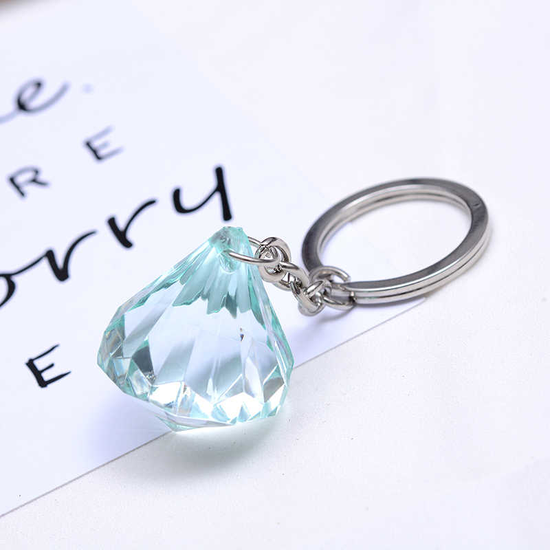SUKI Simple Classic Drop Water Acrylic Clear Key Chain Car Key Ring Bag Charm Key Holder Key Chains Women Men Friend Gift