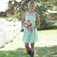 Country Western Mint Green Lace Bohemian Bridesmaid Dresses