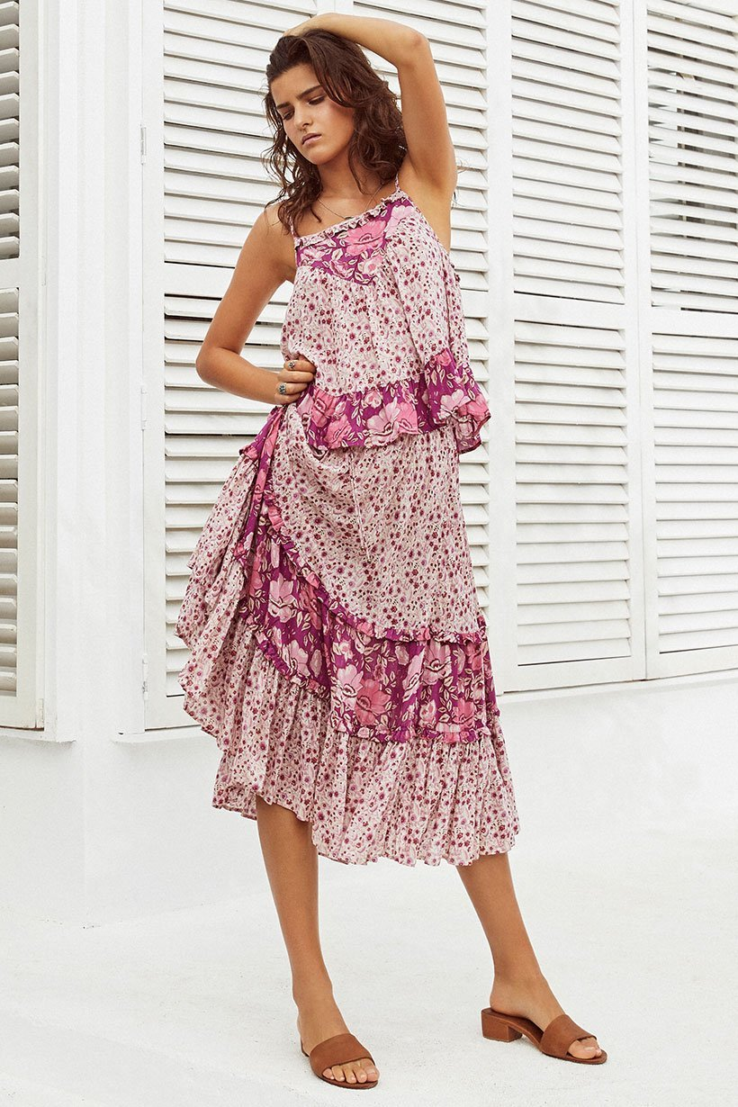 a836dd9dfe669 US $20.56 28% OFF|BOHOFREE Holiday Style WINONA MIDI SKIRT Floral Dancer  Long Skirts Elastic Waist Maxi Hippie Falda Femme Saia Boho Women -in  Skirts ...
