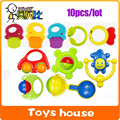 10pcslot baby toys 0-12 months Plastic Baby Rattles Mobiles playgro educational toys for toddlers teether hand shake Jingle bell