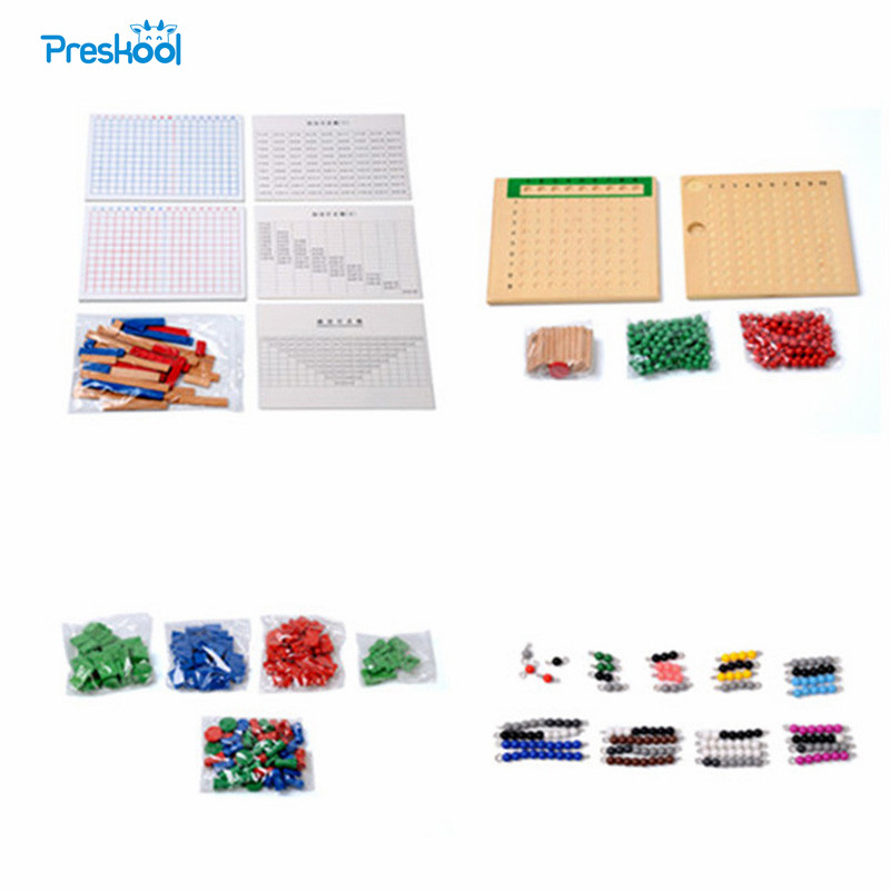 Baby Toy Montessori Multiplication Division Beads Board Addition Subtraction Strip Stamp Game Math Beads Brinquedos Juguetes