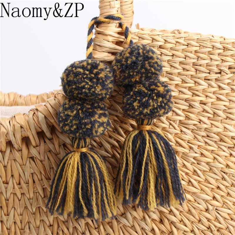 Naomy & ZP 1 cái Cổ Điển Bohemian Phụ Kiện Keychain Handmade Hạt Chuỗi Pompom Tay Túi Treo Dây Đeo Chìa Khóa Cổ Điển Key nhẫn