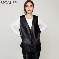 ESCALIER Vest Sheepskin Women Sleeveless Button Vest Short Coat Solid Color V Neck Collar Outwear For