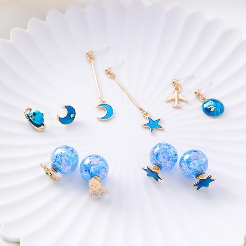 Modern Womens Earrings 2018 Creative Blue Starry Sky Women Dangle Korean Fashion Romantic Female Jewelry Accessories