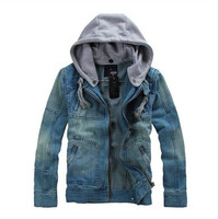 Plus Size M 5XL New Casual Slim Denim Men Jeans Cotton Coat Men S Jacket Blue