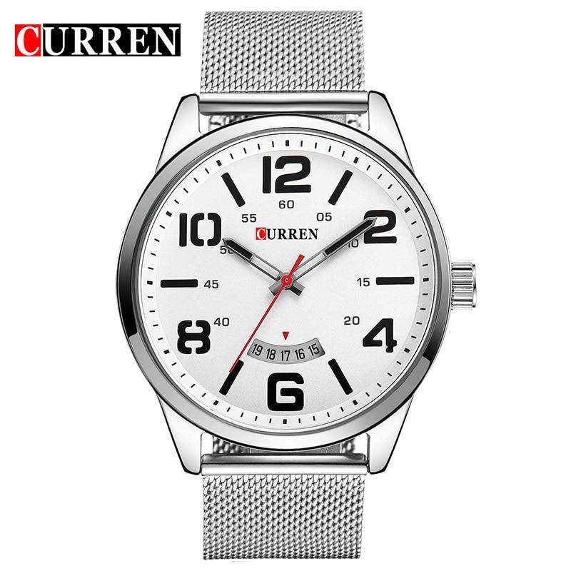 CURREN Simple Style Calendar Casual Men Watch Big Digital Quartz Male Clock Fashion Full Steel Relogio Masculino Reloj Hombre все цены