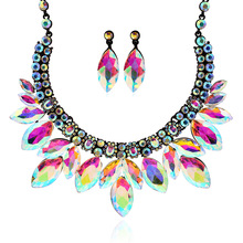 Color Gold Silver Plated Crystal Necklace Earrings Bridal Jewelry Sets For Women Wedding Party Baroque African Nigerian Dubai