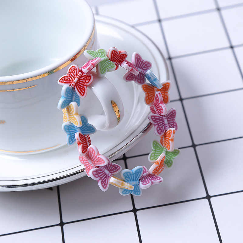 أطفال الأطفال لطيف الحلوى الملونة الكرتون الاكريليك فراشة الخرز سوار لفتاة حفلة عيد ميلاد مجوهرات هدية بالجملة