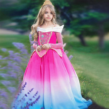 Fancy Halloween Costume Sleep Beauty dress up Clothes Kids  Aurora Princess Party Cosplay Costume Girl long roseo dresses цена