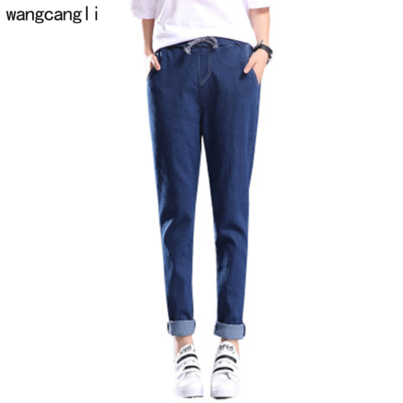 2018 new Spring Korean women's jeans 2017 lace up pants Fashion leisure High Waist trousers plus large Sizes street Office Wear