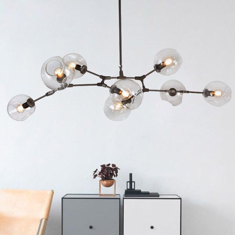 Loft Chandeliers Globe Glass Lights Modern Minimalist Design Chandelier Hanging In Living Room Restaurant E27 Lamps From