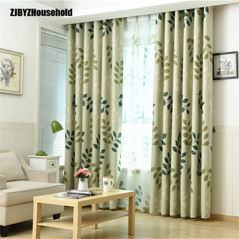 Pastoral Style Curtains Small Fresh Leaves,Curtains For Living Dining Room Bedroom