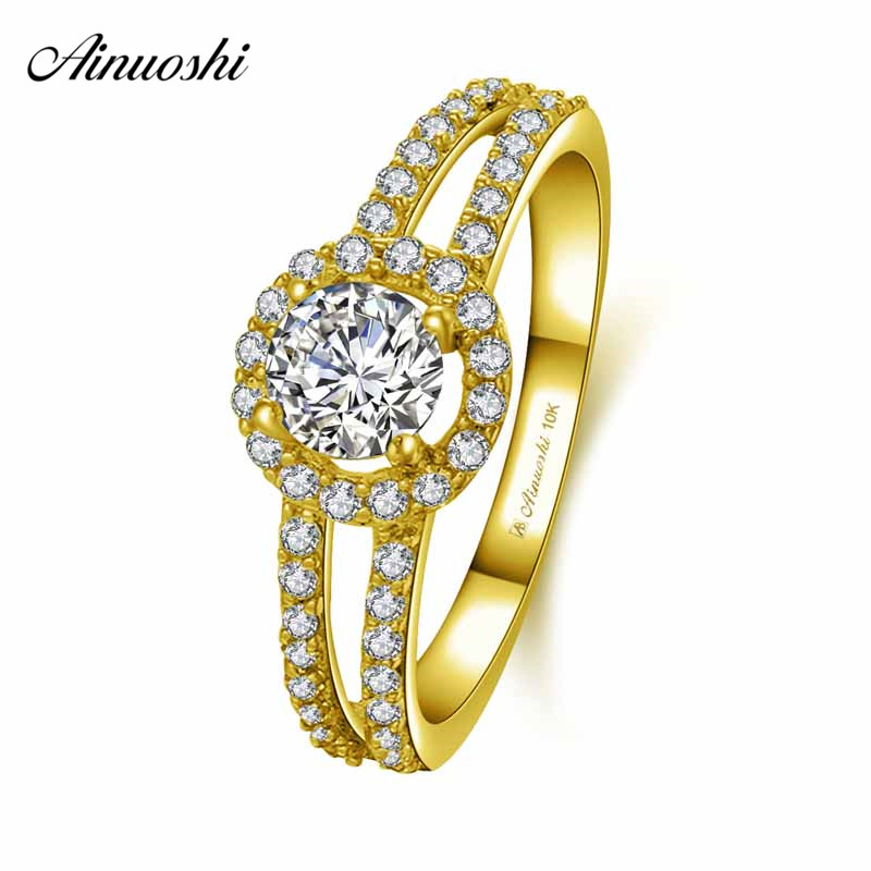 AINUOSHI 10k Solid Yellow Gold Halo Ring Female Wedding Engagement Jewelry 0.5ct Round Cut SONA Diamond Hollow Ring Bridal Bands