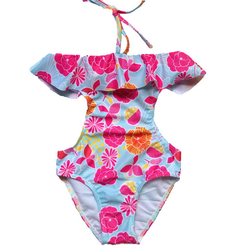 Print Girl's Clothes Bandage Swimsuit One Piece Swim Wear Pink for Girls Children's Swimming Clothing Baby Bathing Suit Summer children swimming wear baby girls one piece swimwear with birds pattern kids swimsuit bathing suit summer wear sw0623