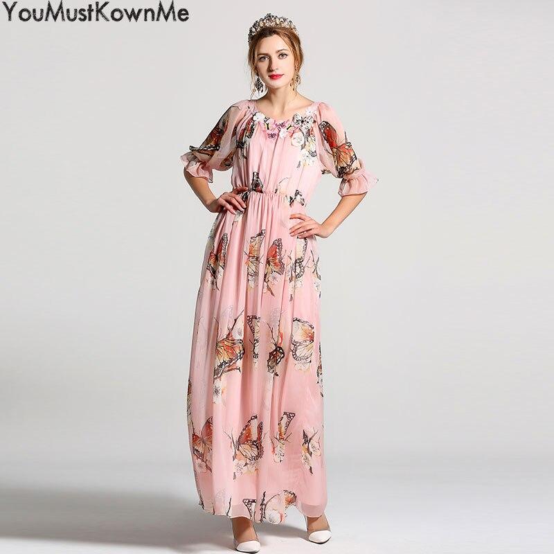 Mousseline Long pink Manches Élégant De Robes Rond D'été Boho Papillon Soie Robe Appliques Imprimer Femmes Beach Moitié Youmustknowme Blue Maxi Col OY1aORq