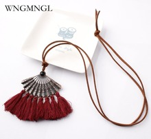 WNGMNGL Handmade 2018 New Female Pendant Necklaces Bohemia Charm Statement Long Tassel Drop Necklace For Women Fashion Jewelry