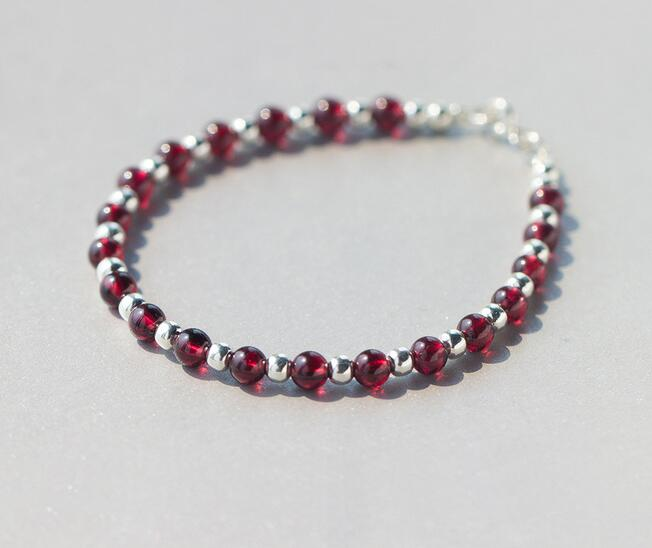 5mm SMALL 100% Real. 925 Sterling Silver Natural RED Garnet Stone &Lucky Polished Ball BEAD Bracelet Thin DROP Shipping GTLS328