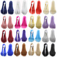 """32 """"80 cm mujeres Cosplay Peluca largo pelo liso resistente al calor disfraz pelucas de pelo sintético para fiestas para Halloween Peruca Peluca"""