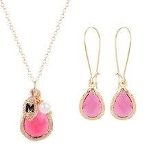 Dulce Dama de honor de Regalos Pendientes de La Joyería de La Boda Establece Rosa Collar de Piedra de la Resina Del Color Del Caramelo de Cristal Con Hojas Collar Inicial